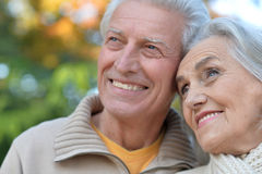 senior couple posing   in the park Royalty Free Stock Photography