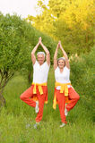 Senior couple practicing yoga Royalty Free Stock Photography