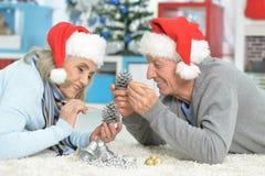 Senior couple preparing for Christmas Stock Image
