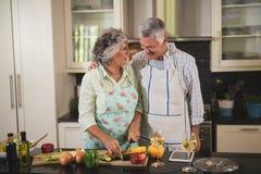 Senior couple preparing food in kitchen Royalty Free Stock Image