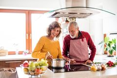 Senior couple preparing food in the kitchen. An old men and women inside the house Royalty Free Stock Image