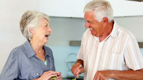 Senior couple preparing a healthy salad stock video