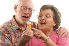 Senior Couple & Prescriptions Royalty Free Stock Photos