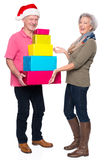 Senior couple with presents Royalty Free Stock Image