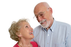 Senior Couple Private Joke Stock Photos