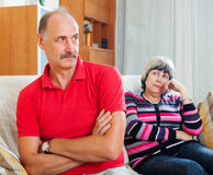Senior couple after quarrel Stock Photos