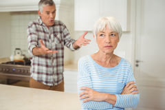 Senior couple quarrelling with each other. In kitchen stock images