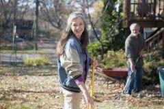 Senior couple raking autumn leaves Royalty Free Stock Photos