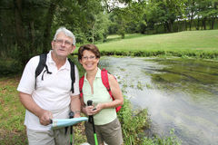 Senior couple on a rambling day Royalty Free Stock Image