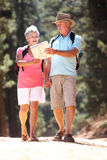 Senior couple reading map on country walk. Affectionate senior couple reading map while on country walk Royalty Free Stock Photos