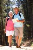 Senior couple reading map on country walk. Smiling Royalty Free Stock Photos