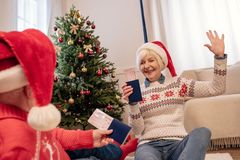 Senior couple ready to journey. Happy senior couple with passports and air tickets ready to journey at christmas eve Stock Images