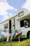 Senior couple relaxing camping Royalty Free Stock Photography