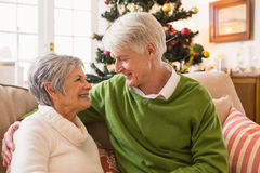Senior couple relaxing at christmas Royalty Free Stock Photography