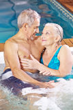 Senior couple relaxing in hotel Stock Photo
