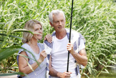 Senior couple relaxing outdoor Royalty Free Stock Photography