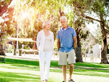 Senior couple relaxing in park Royalty Free Stock Photo