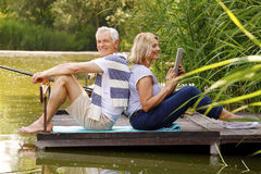 Senior couple relaxing Royalty Free Stock Photos