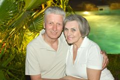 Senior couple at resort Stock Images