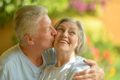 Senior couple at the resort. During vacation Royalty Free Stock Photography