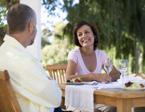A senior couple at a restaurant Royalty Free Stock Photography
