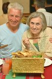 Senior couple at restaurant Royalty Free Stock Images