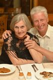 Senior couple at restaurant Stock Image