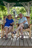Senior Couple Resting  in the Gazebo Stock Photos