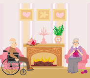 Senior couple resting at home Stock Images