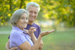 Senior couple resting outdoors Stock Photography