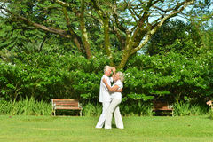 Senior couple resting outdoors Stock Images