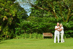 Senior couple resting outdoors Royalty Free Stock Images
