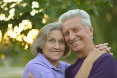 Senior couple resting outdoors Royalty Free Stock Photography