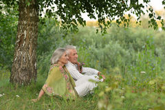 Senior couple resting at park. Portrait of a senior couple resting at summer park royalty free stock photo