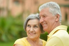 Senior couple resting at the resort Royalty Free Stock Image