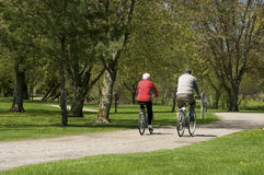 Senior couple riding bicycles Royalty Free Stock Photo