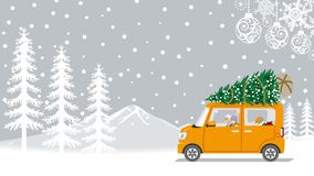 Senior couple riding the car which loaded the Christmas tree - W vector illustration