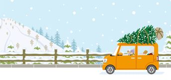 Senior couple riding the car which loaded the Christmas tree - W royalty free illustration