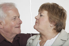 Senior couple ripped apart due to relationship difficulties Royalty Free Stock Image