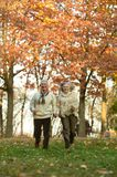Senior couple running in park. Senior couple running in casual clothing in park Stock Image