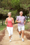 Senior couple running in park. Smiling Royalty Free Stock Photos