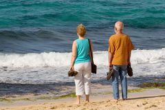 Senior couple by sea Royalty Free Stock Photography