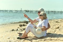 Senior couple at sea Royalty Free Stock Photo
