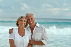 Senior couple at sea Stock Images