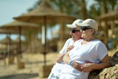 Senior couple at sea Stock Image