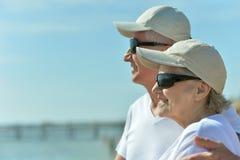 Senior couple at sea Stock Photo