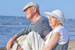 Senior couple at sea Stock Photos