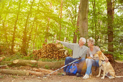 Senior couple seeing goal of hiking trip Stock Image