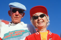 A senior couple at the Senior Olympics Stock Image