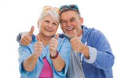 Senior couple showing thumbs up Stock Image